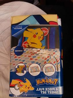 POKEMON~PIKACHU~FULL SIZE MICROFIBER SHEET SET~NEW~1 FLAT/1