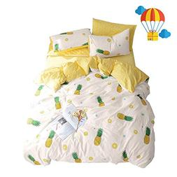 BuLuTu Pineapple Pattern 3 Pieces Cotton Bedding Sets Twin C