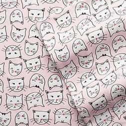 Cuddl Duds PINK CATS Flannel Sheet Set TWIN Size 3-Piece  Ca