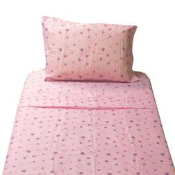New 3pc Pink Flowers Twin Bed Sheet Set - Polka Dot Floral B