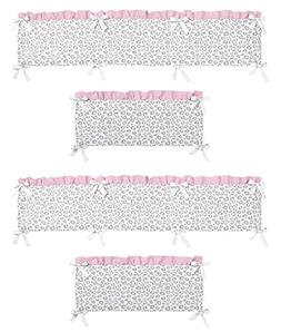 Pink and Gray Kenya Collection Crib Bumper by Sweet Jojo Des