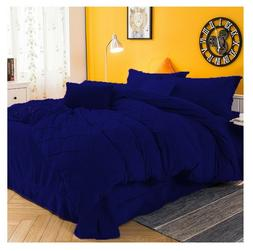 Pintuck Velvet Royal Blue Duvet Cover Set 5 PC Full / Queen