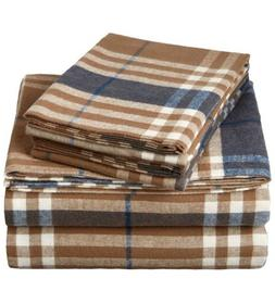 Pinzon Plaid Flannel Bed Sheet Set - Twin, Brown Plaid