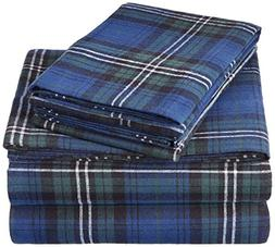 Pinzon 160 Gram Plaid Flannel Sheet Set - King, Blackwatch P