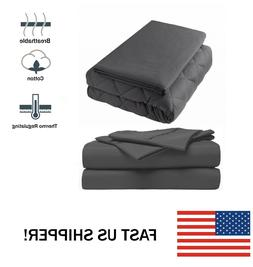 """Premium King Weighted Blanket 25 lbs 86x92"""" With Cover and B"""