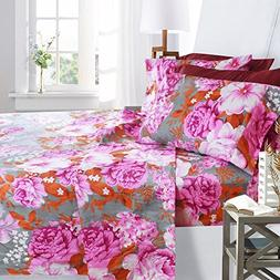 Printed Bed Sheet Set, Queen Size - Pink Peony - By Clara Cl
