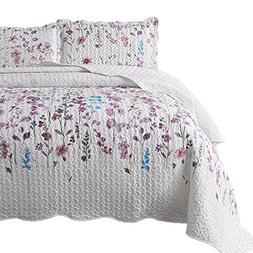 Bedsure Printed Quilt Coverlet Set Twin Lilac Floral Pattern
