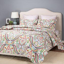 """Bedsure """"Yule Tide"""" Printed Quilt Set -- Bedspread and Cover"""