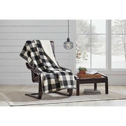 Printed Sherpa Throw Blanket - Black Buffalo Plaid Super Sof