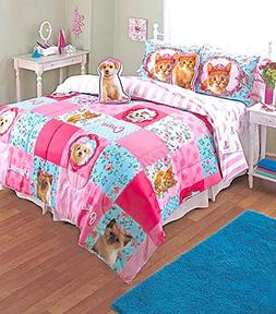 Princess Puppy Kitty 9pc Pink Patchwork FULL/QUEEN SIZE Comf