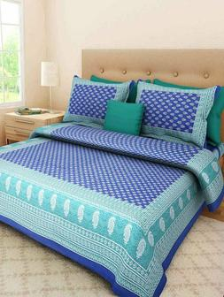 Queen Bedspread With 2 Pillow Cover Indian Cotton Bed Cover