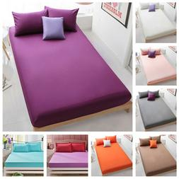 Queen Bed Fitted Sheets Full King Solid Color Bedding Mattre
