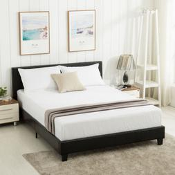 Queen Size Faux Leather Platform Bed Frame & Slats Upholster
