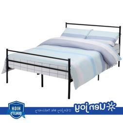 Queen Size Metal Bed Frame Platform Headboards Slats Bedroom