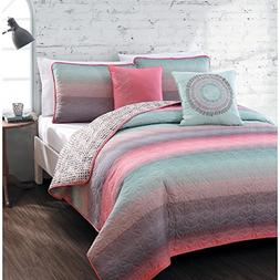 5-piece Queen Quilt Set for Girls Beautiful Coral Pink, Teal