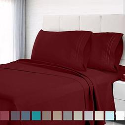 Premium Queen Size Sheets Set - Red Burgundy Hotel Luxury 4-