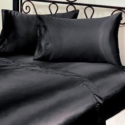 3-Piece TWIN size, SOLID BLACK Soft Silky Charmeuse Satin Sh