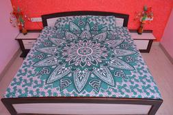 Queen Size Cotton Mandala Tapestry Bedspread Indian Hippie B
