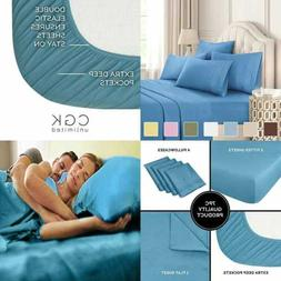 Queen Size Sheet Set 6 PC Hotel Luxury Bed Sheets Extra Soft