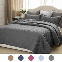 Bedsure 2-Piece Bedding Quilt Set Grey Twin Size 68x86 Bedsp
