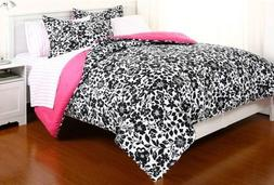 7 Pieces Reversible Black White Comforter and Pink Sheet Set