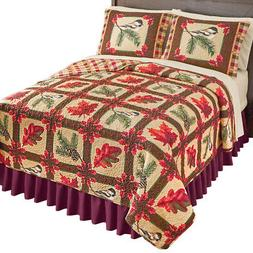 Reversible Fall Foliage & Birds Patchwork Quilt - add indivi