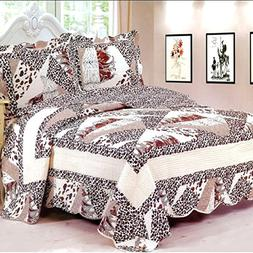 New Reversible 3PC Quilt Coverlet 100% Cotton Full Size Beds
