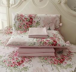 FADFAY Rose Floral 4 Piece Bed Sheet Set 100% Cotton Deep Po