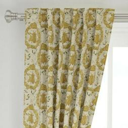 """Royal Bees French Bee Antique Floral Flower 50"""" Wide Curtain"""