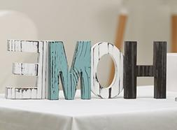 MyGift Rustic Wood Home Decorative Sign, Standing Cutout Wor