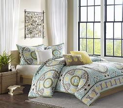 Madison Park Samara 6 Piece Printed Duvet Set - Blue - Queen