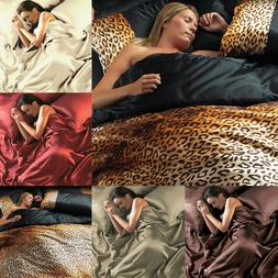 Satin Bed Sheets 6 Piece Silk Double King Duvet Sets Silken