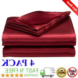 Satin Sheets Soft Silk Feel Bedding 4pc Set Luxury Bed Linen