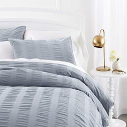Pinzon Seersucker Duvet Cover Set - Full/Queen, Dusty Blue