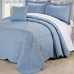 Serenta Damask 4 Piece Bedspread Set, King, Forget Me Not