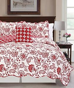 Serenta Printed Paisley Flower 4 Piece Reversible Quilted Co
