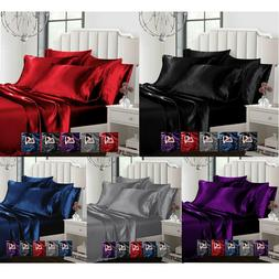 Sexy Satin 6 Pcs Queen / King Bed Duvet Cover Pillow Cover F