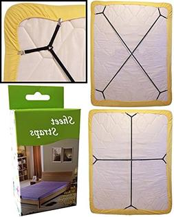 KENTAL 2pcs Sheet Bed Suspenders Adjustable Crisscross Fitte