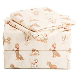 Sheet Set Twin Size Cream Printed Dogs Design Bedding Sets w