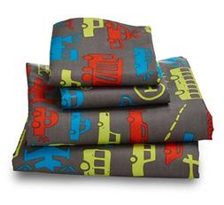 Queen Transportation Print Sheet Set for Kids Bedding Double