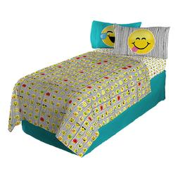 Sheet Set Twin Emoji Forever Happy Faces Reversible Pillowca
