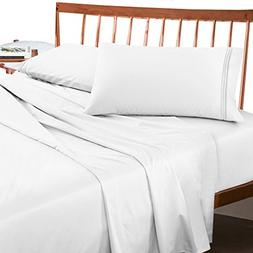 Premium Queen Sheets Set - White Hotel Luxury 4-Piece Bed Se