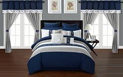 Chic Home Shilo 24 Piece Comforter Set Color Block Embroider