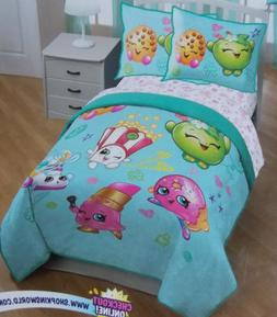 Shopkins 6 Pc Quilt + Shams + Sheets Bed Set ~ NEW Twin Blue