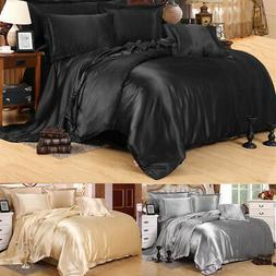 Silk Satin Blend Duvet Cover Pillowcase Flat Sheet Bedding S