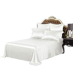 THXSILK Silk Sheet Set 4 Pcs, 19 Momme Silk Bed Sheets with
