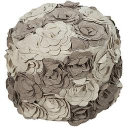 Single Piece Taupe Square Shape Small Ottoman, 18-inch, Flor