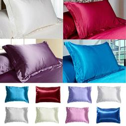 Smooth Silk Queen/Standard Pillowcase Solid Color Bedding Pi