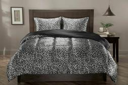 snow leopard and black satin reversible comforter