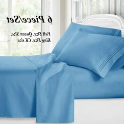 Soft Bed Sheets 6 Piece Deep Pocket Bedding Sets Queen King
